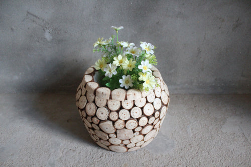 "Rustic Fir Wood Chip Vase ""Artemis"" Home Dcor"