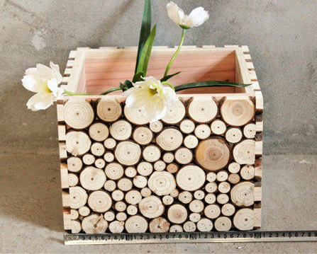 Natural Handmade Exotic Wood Chip Vase Planters Rustic Square Wooden Artistic Organic Home Decor Box Cottage Modern Chic Toronto Live Edge Solid Wood Furniture Store NosNatura.com