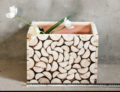 """Half Moon"" Rustic Wooden Storage Box, Vase and Planter"