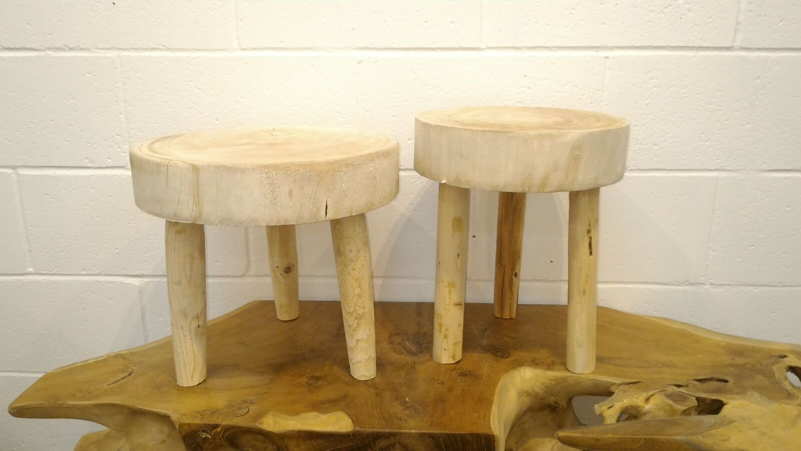 Handcrafted Paulownia Wooden Stool & Accent Table (Beige - Small)