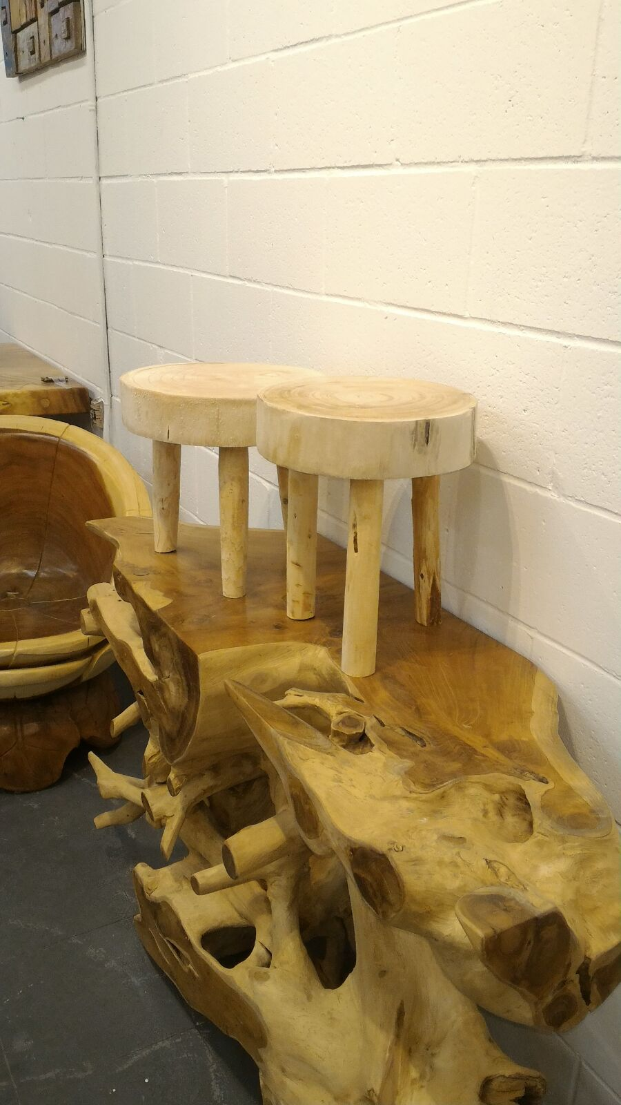 Handcrafted Paulownia Wooden Stool & Accent Table (Natural Finish)