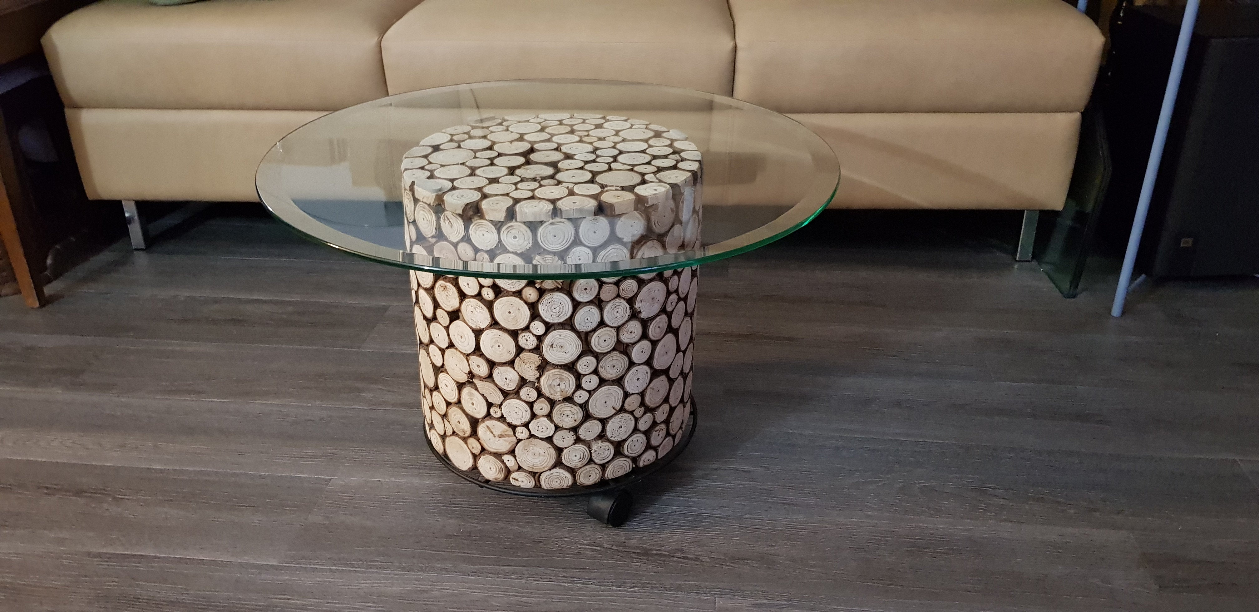 Rustic Fir Wood Log Accent Decor Stool/Side Table