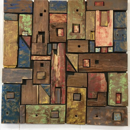 Reclaimed Wood Wall Art Sculpture Decor (80cm x 80cm)