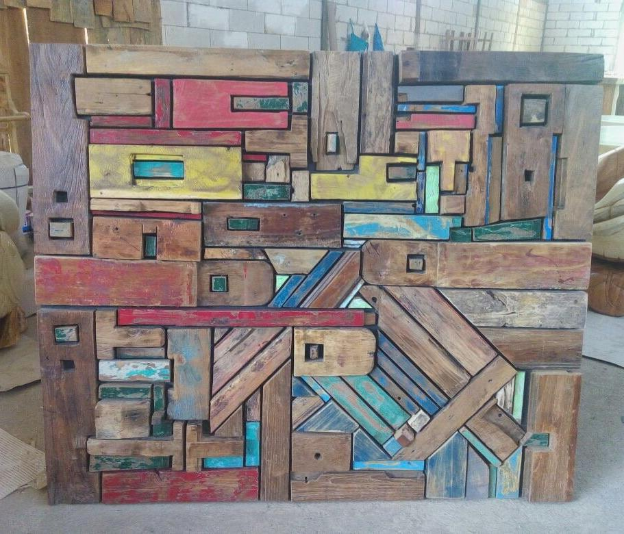 Reclaimed Wood Wall Art Sculpture Decor (120cm x 100cm)