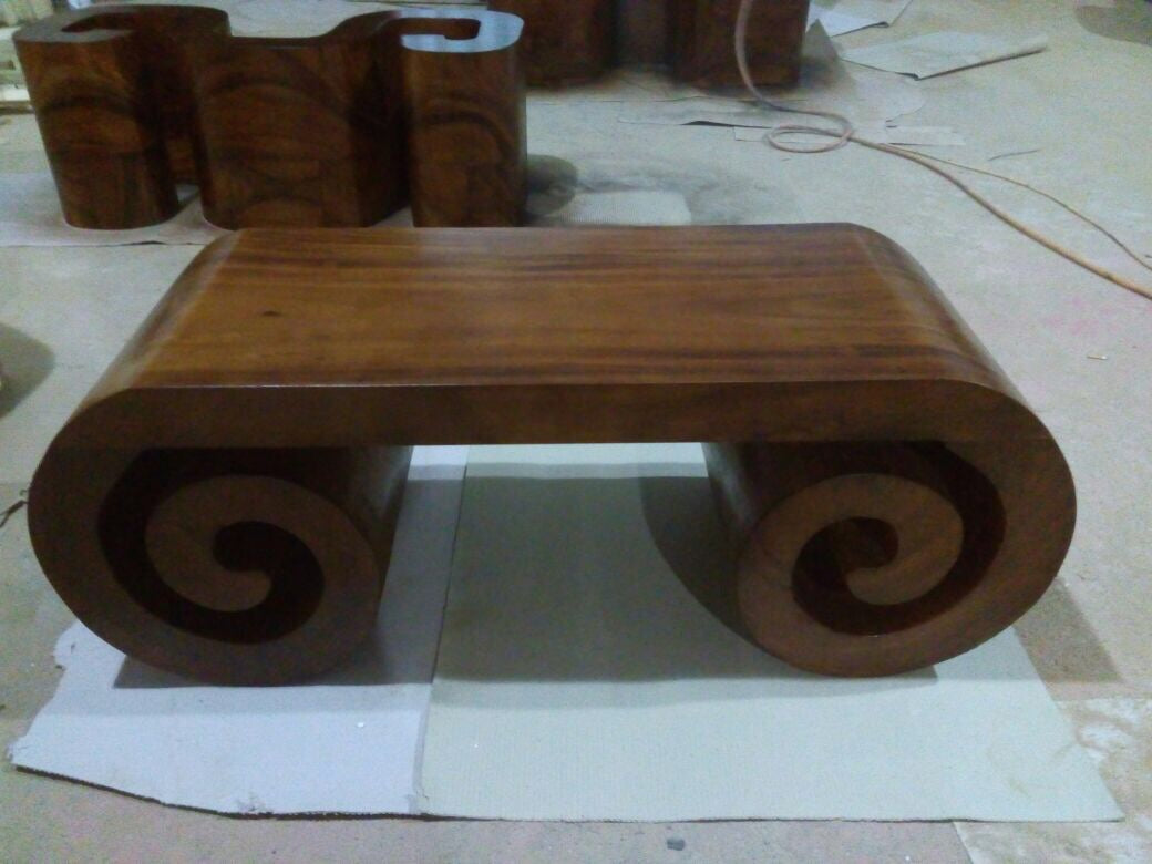 Handmade Scroll Tree solid wood Coffee Table Artisan Master Craftsmanship