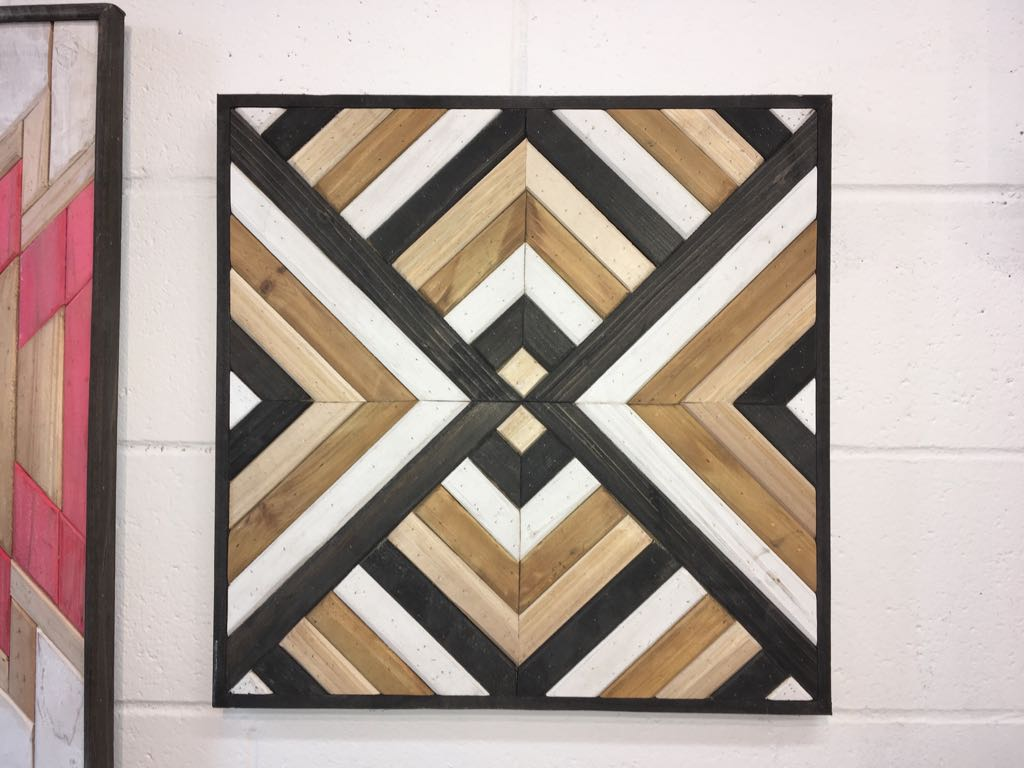 Brown Black White Patterned Pine Wood Wall Art