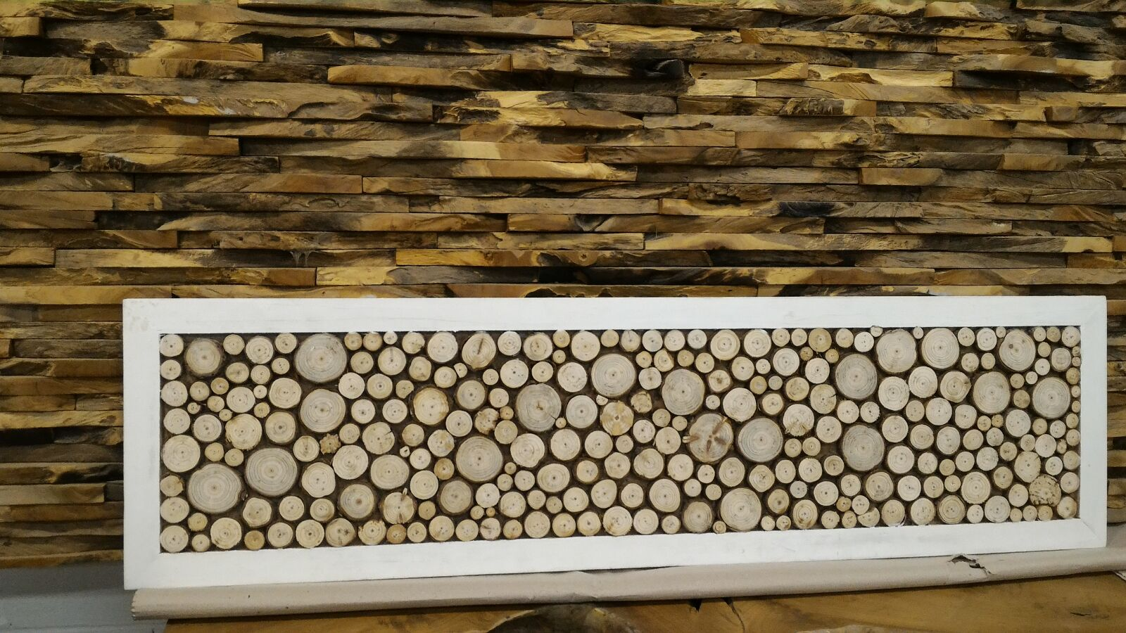 Fir Wood Chip Wall Art Sculpture Decor (122cm x 33cm)
