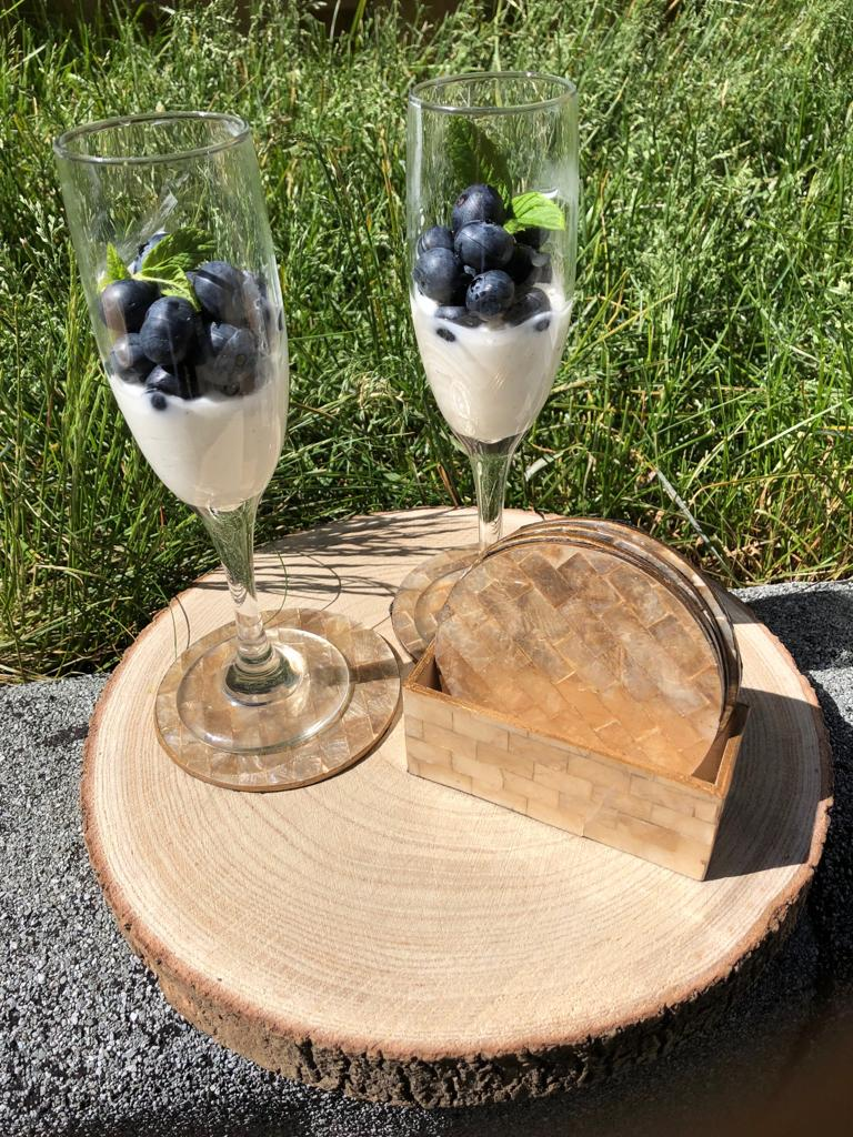 Paulownia Wood Platter Serving Board and Cake Stand (30cm), Wine Glass Decor Tray, Platter, Wedding Cake Stand