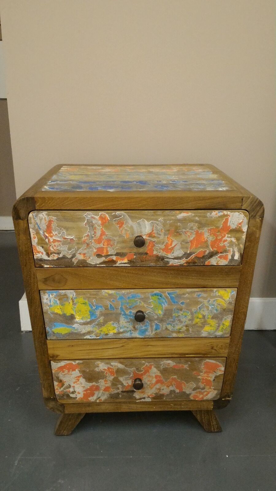 Reclaimed Boat Wood 3-Drawer Night Stand, Cabinet, End Table, Bedside Dresser, Office Cabinet