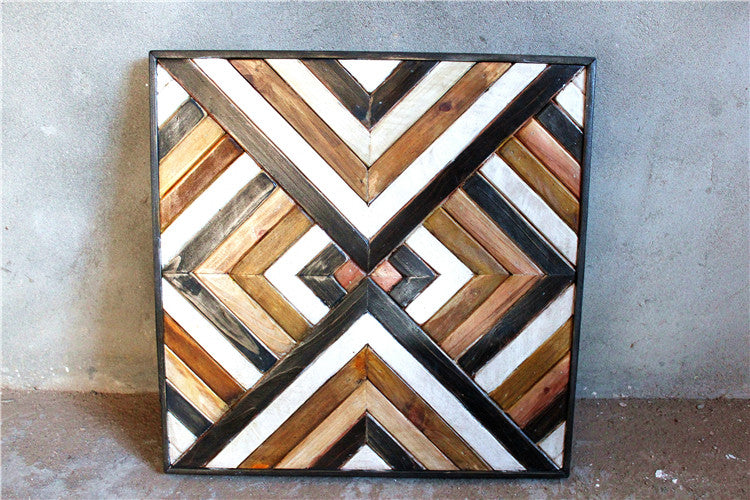 Reclaimed Wood Wall Art, Geometric, Tribal, Boho Chevron Sculpture, Rustic, Beach Wood, Nos Natura Furniture Store Toronto Live Edge Solid Wood Furniture, Mid Century, Decor, painting