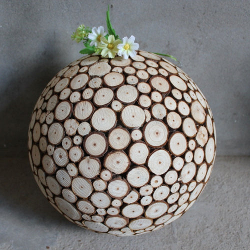 Fir Wood Chip Art Decor Ball