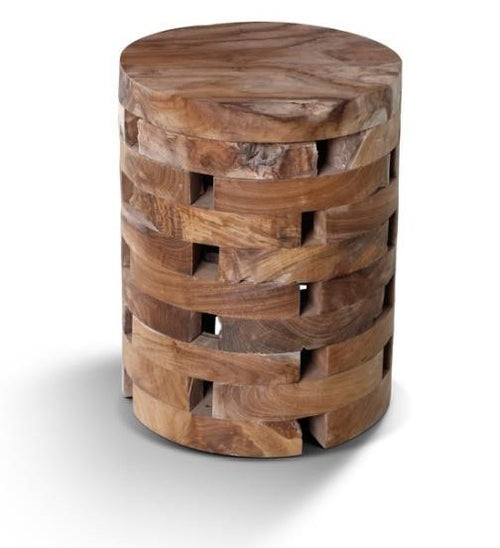 Modern Natural Teak Round Solid Wood Stool End Table Puzzle LookLive Edge  Solid Wood Office Furniture In Toronto Ontario Online