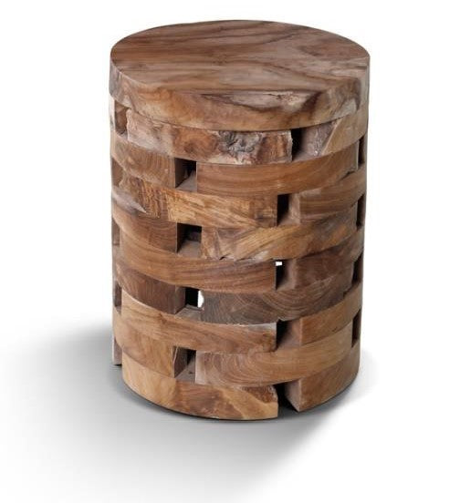 Modern Natural Teak Round Solid Wood Stool / End Table For