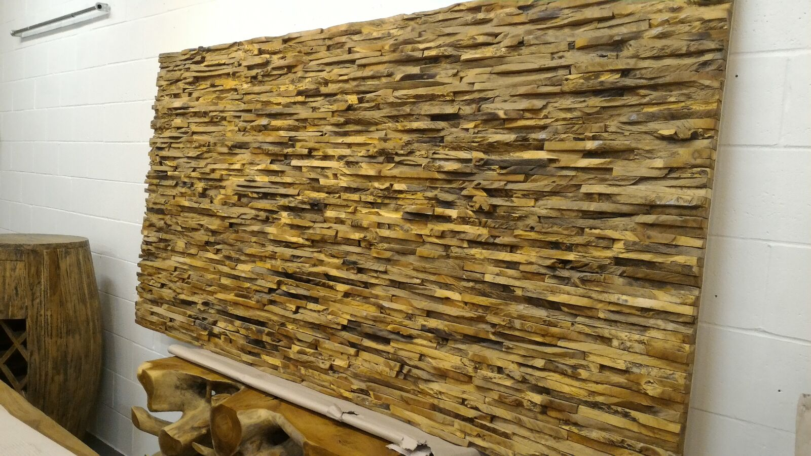 Wood Chip Wall Art Sculpture Decor/Bed Headboard