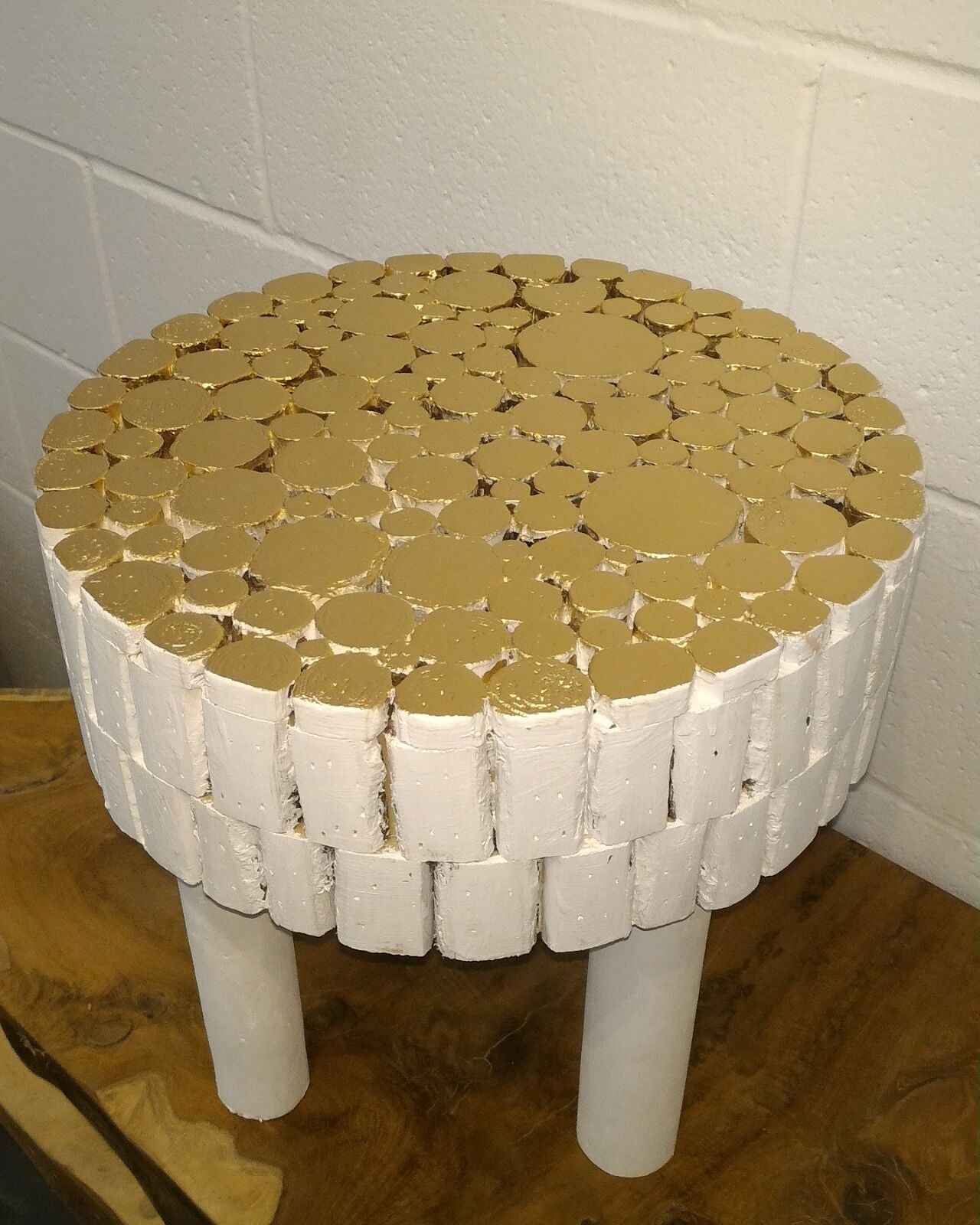Gold Top Handcrafted Fir Wooden Stool Accent Table or Stool
