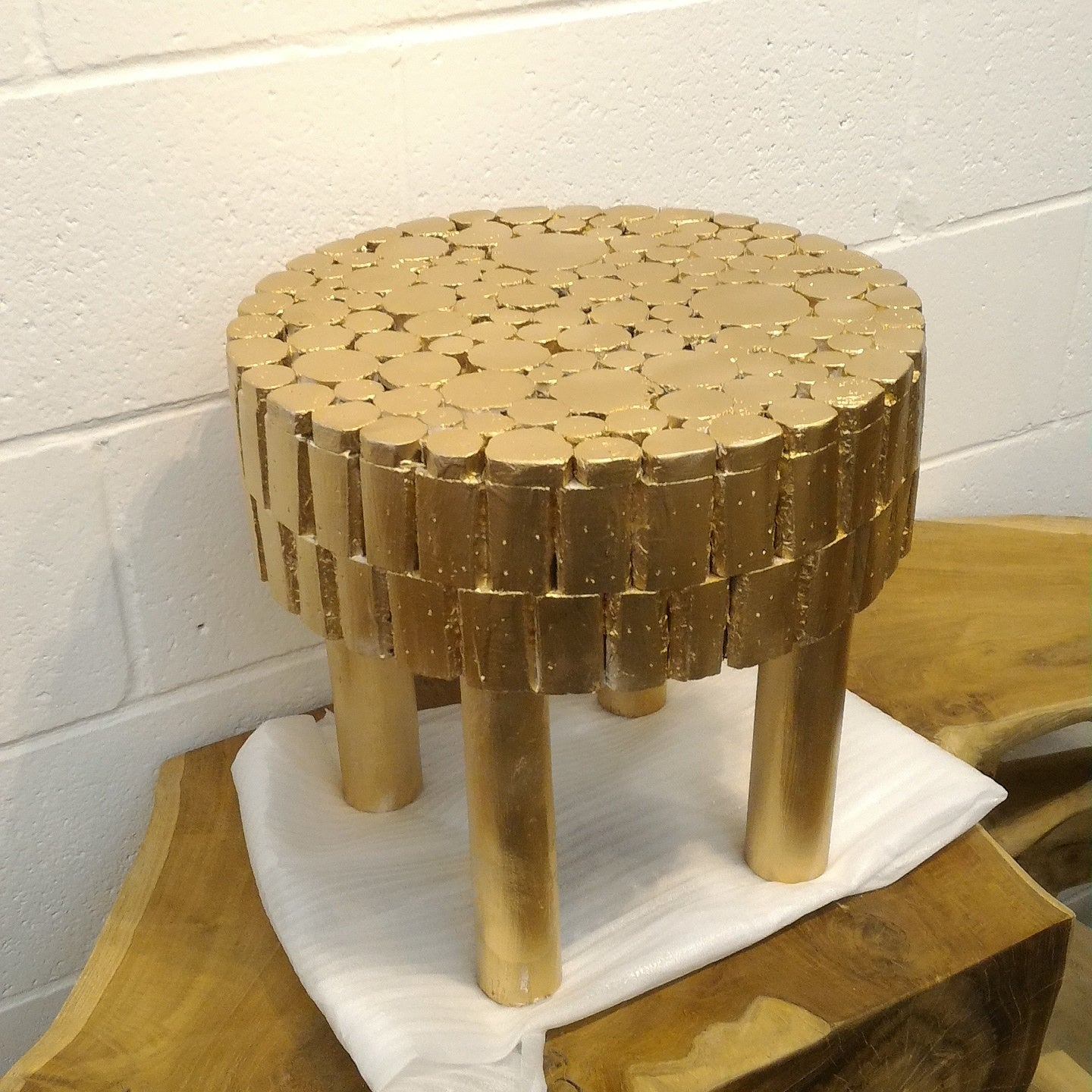Gold Leaf Handcrafted Fir Wooden Stool Accent Table
