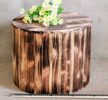 Artistic Natural Wood Pattern Round Accent Table, End Table, Night Stand, Stool