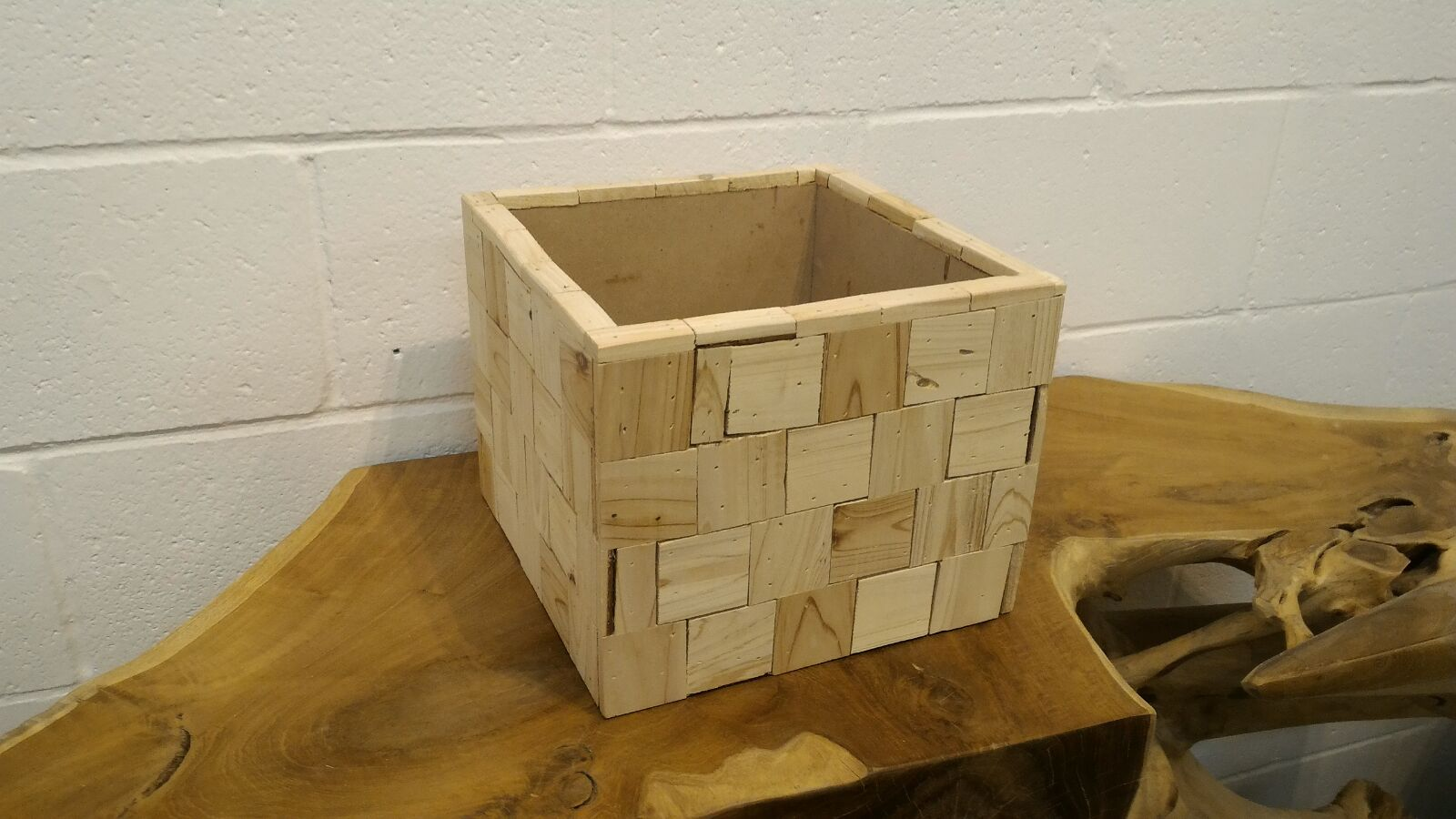 Rustic Wooden Box Vase