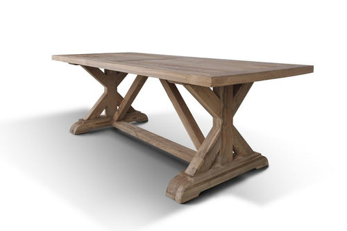 Clearance Sale! Teak Solid Wood Harvest Table (220cm) with Wooden Cross Legs