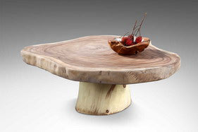 "Showroom Sale! Floor Model Live Edge ""Snow White"" Solid Wood Coffee Table with Log Base"