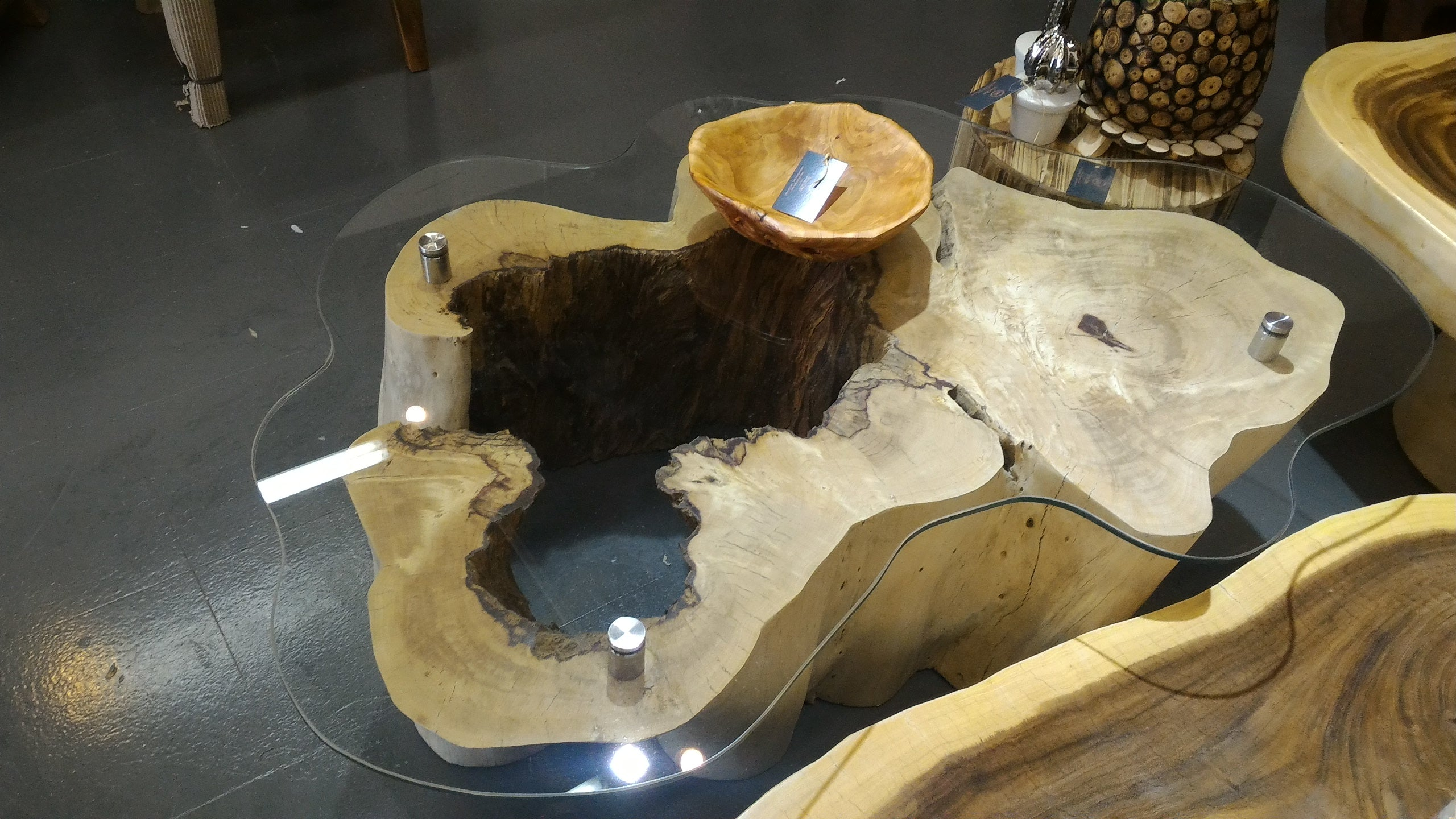 Showroom Sale! Tree Trunk Live Edge Coffee Table with Glass Top