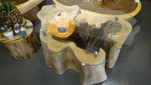 [Moving Sale] 1 only! Wood Log Tree Trunk Live Edge Coffee Table with Glass Top