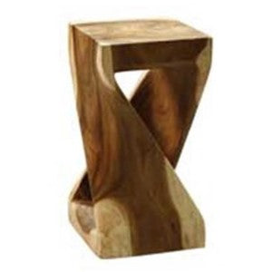 "Suar Solid Wood ""Twist"" Accent Table, End Table, Stool"