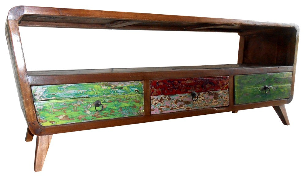 Multipurpose reclaimed boat wood entertainment unit tv for Multipurpose furniture for sale