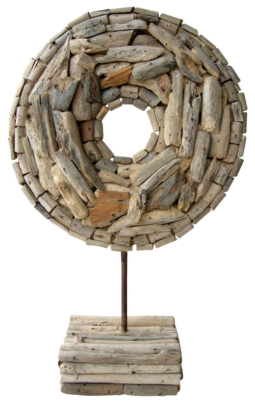 "Handcrafted Driftwood ""Ring"" Sculpture on Stand"