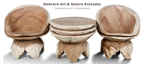 Masterpiece Handcrafted Solid Wood Leaves Design - 1 Coffee Table ad 2 Chairs