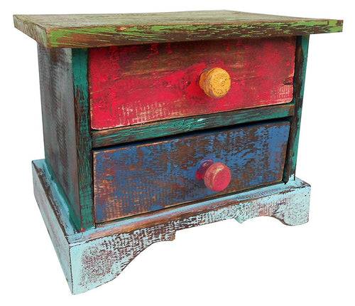 Handcrafted Reclaimed Boat Wood Chest (2 Drawers) Decor