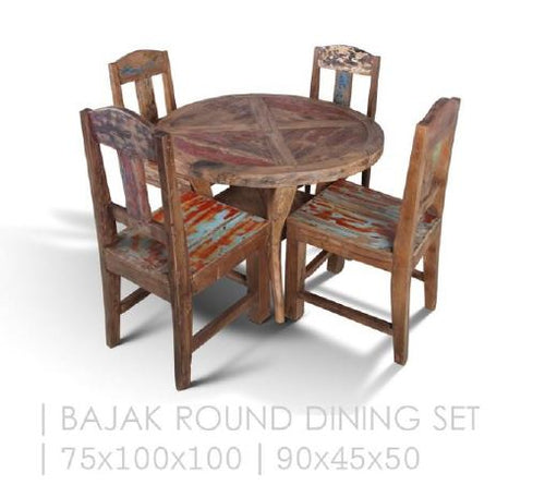 Handcrafted Reclaimed Boat Wood Round Table (100cm) (1 table x 4 chairs)