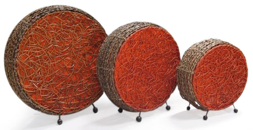 Set of 3 Handmade Rattan Drum Table Lamp &  Accent Lighting