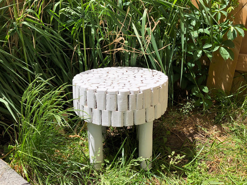 Handcrafted Fir Wooden Stool Snow White Accent Table or Stool