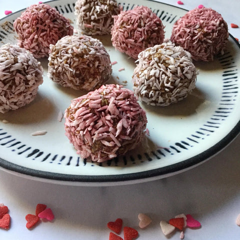plate of hot chocolate bliss balls