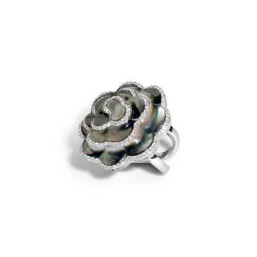 Jasmine Flower Large Ring with Black Mother of Pearl