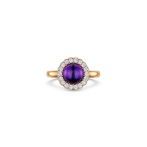 Cannele Cabochon Ring with Amethyst