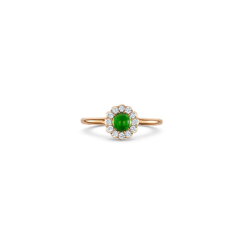Cannele Cabochon Ring with Tsavorite
