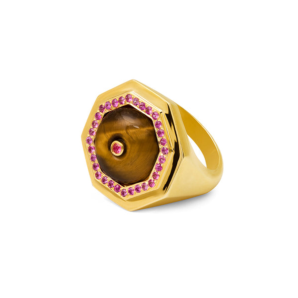 Clementina ring Tigers Eye and Pink Sapphire