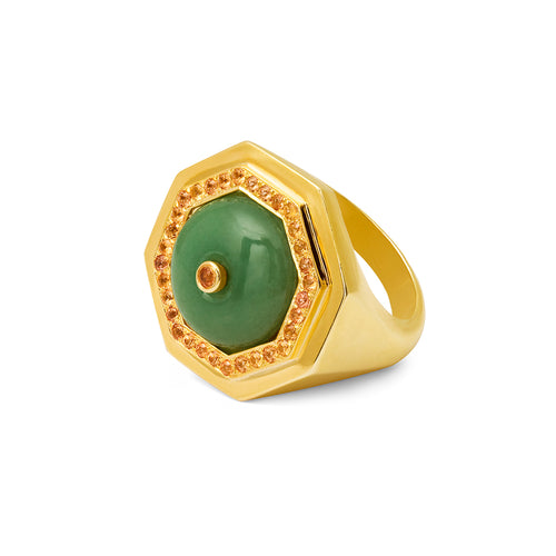 Clementina ring Aventurine and Yellow Sapphire