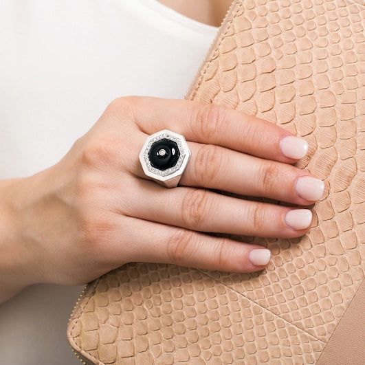 Clementina ring Black Agate and white Sapphire