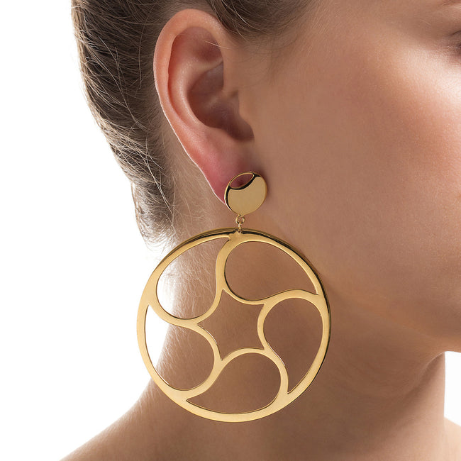 Crop Circles Mystery Two Hoop Earrings Rose Gold