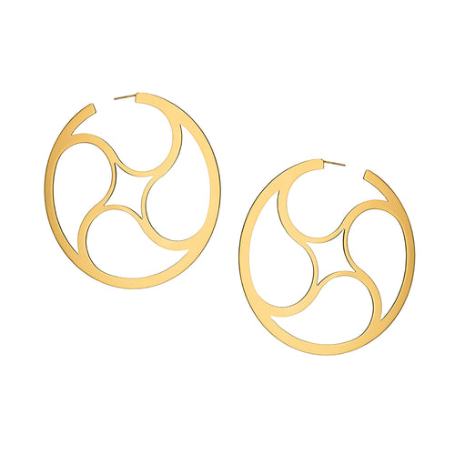 Crop Circles Mystery Hoops Large Yellow Gold