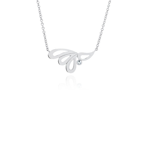 Mari Splash Necklace Silver and White Topaz