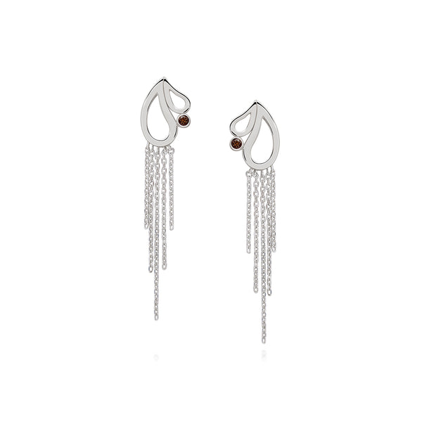 Mari Splash Fringe Earrings Smoky Quartz