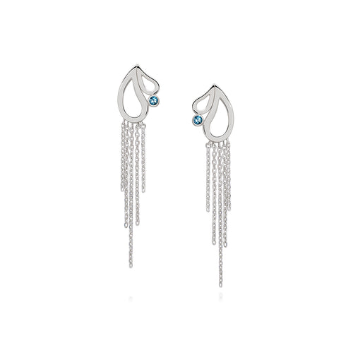 Mari Splash Fringe Earrings Blue Topaz