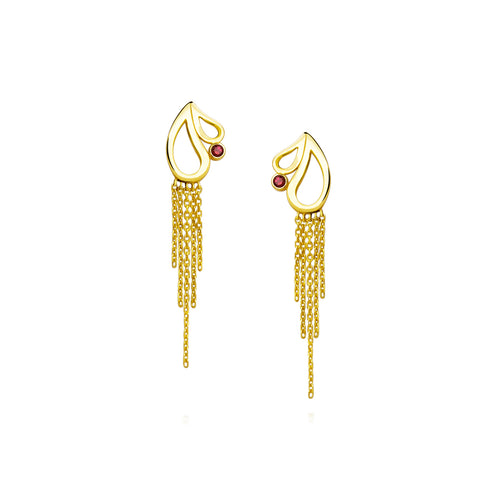 Mari Splash Fringe Earrings Rhodolite