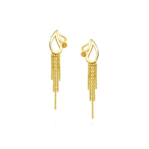 Mari Splash Fringe Earrings Citrine