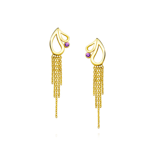 Mari Splash Fringe Earrings Amethyst