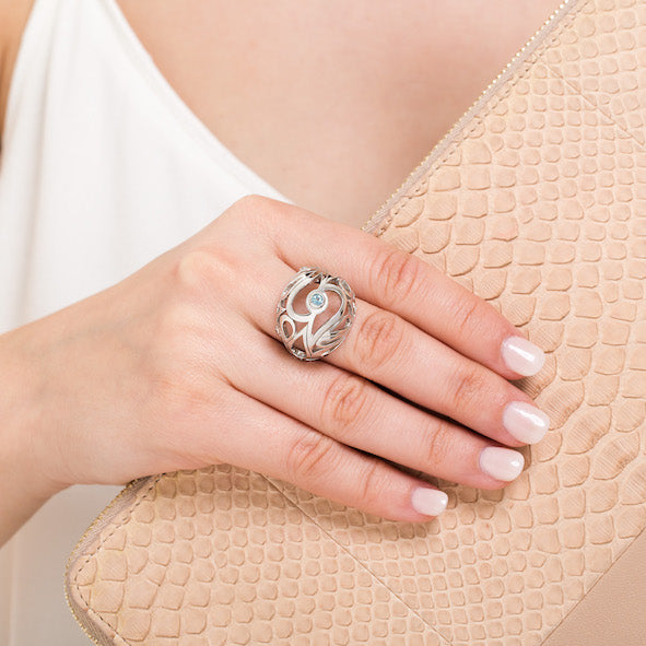 Mari Splash Boule Ring Silver